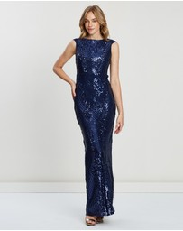 Bariano - Magie Pattern Sequin Column Gown