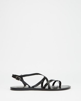 Atmos&Here Rita Leather Sandals - Sandals (Black Leather)