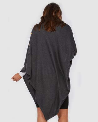 Bamboo Body Knit Bamboo Poncho - Coats & Jackets (Charcoal)