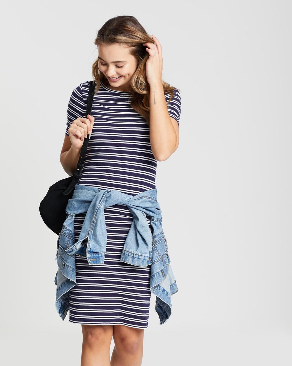 Dorothy Perkins Navy Blue Striped Body-Con Dress
