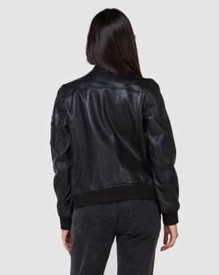 Superdry New York Leather Bomber Jacket - Coats & Jackets (Black)