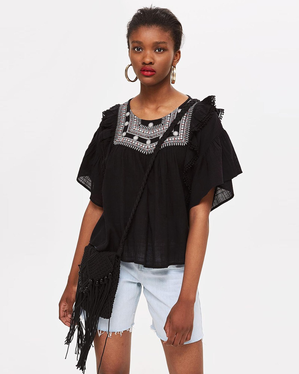 TOPSHOP Yoke Smock Top Tops Black Yoke Smock Top