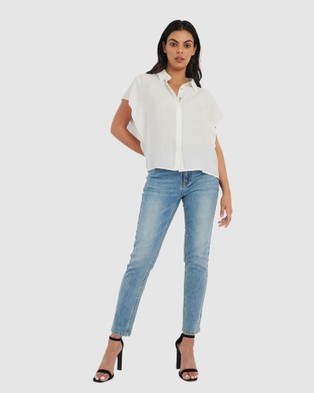 Forcast Lani Butterfly Sleeve Top - Shirts & Polos (Ivory)