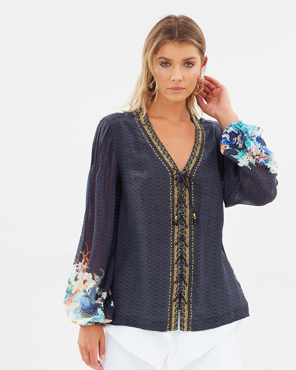 Camilla Peasant Blouse with Front Lacing Tops Up All Night Peasant Blouse with Front Lacing