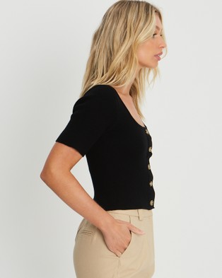 The Fated Rosie Knit Top - Tops (Black)