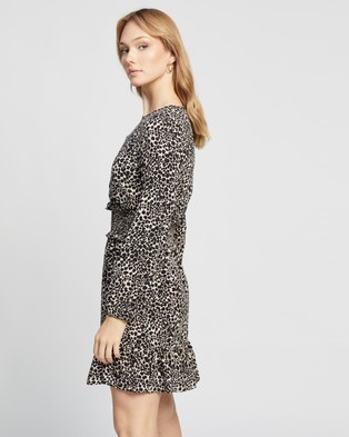 Dorothy Perkins Animal Print Sheered Mini Dress Printed Dresses Black