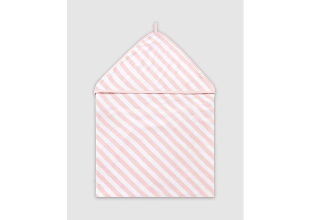 Purebaby Hooded Towel Wraps & Blankets Pale Pink Stripe