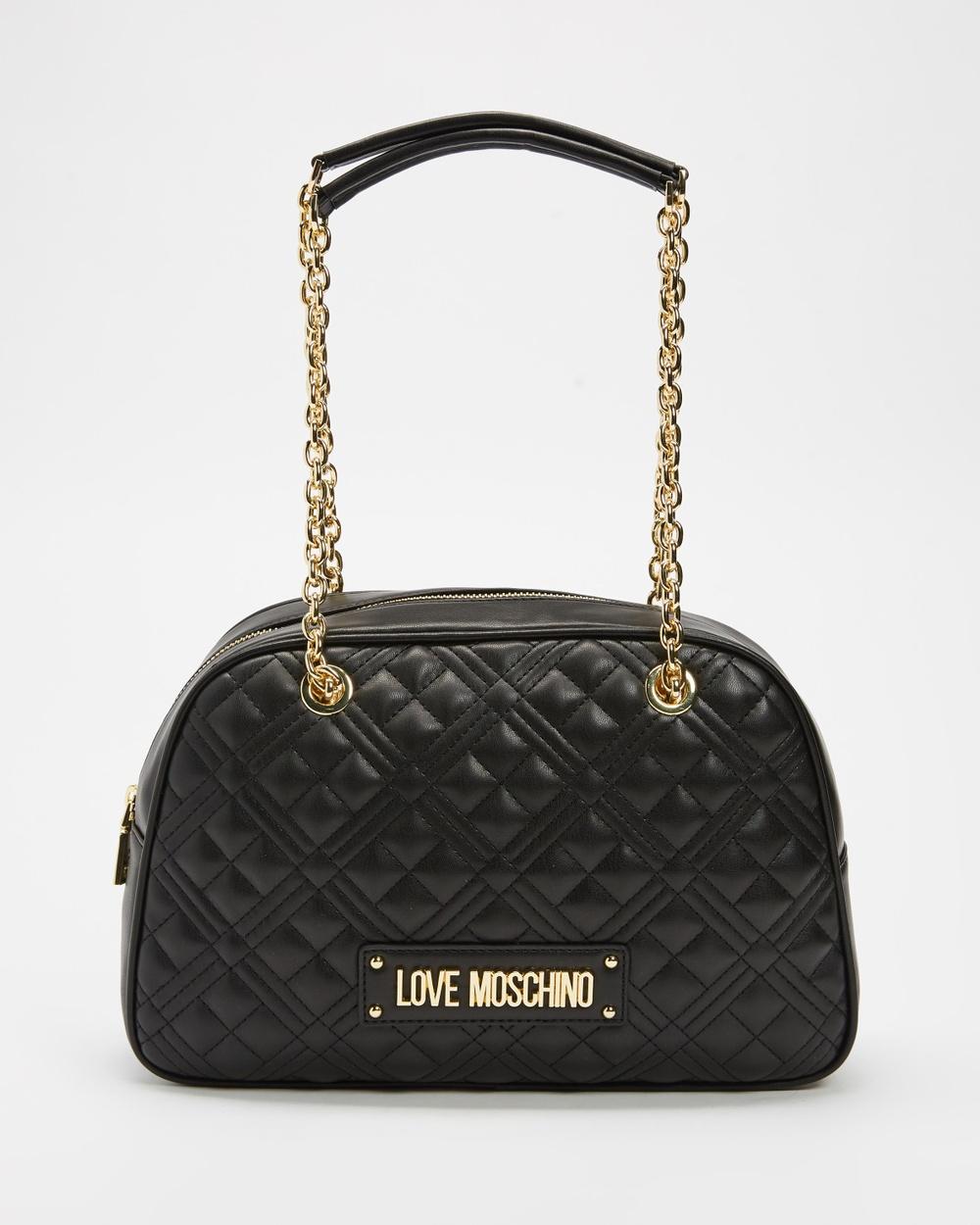 LOVE MOSCHINO Borsa Soft Quilted Medium Half Moon Bag Handbags Nero