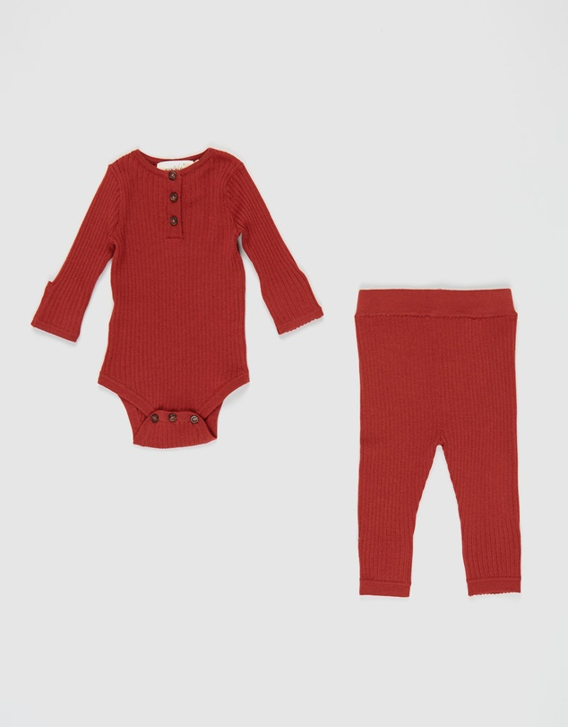 Hello Night - Merino Knitted Bodysuit Set - Babies
