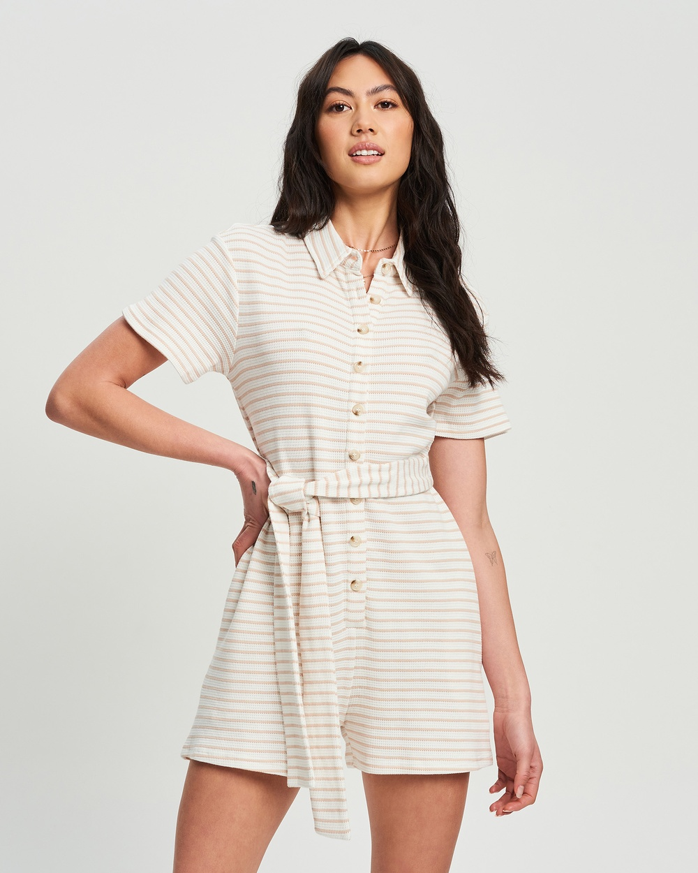 Calli Weekend Playsuit Jumpsuits & Playsuits White And Neutral Stripe