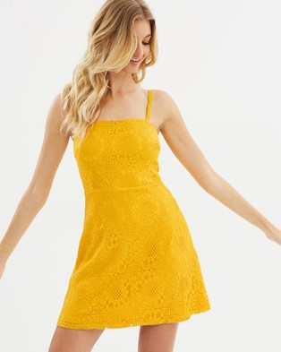 Atmos & Here – Sophia Lace Mini Dress Golden Yellow