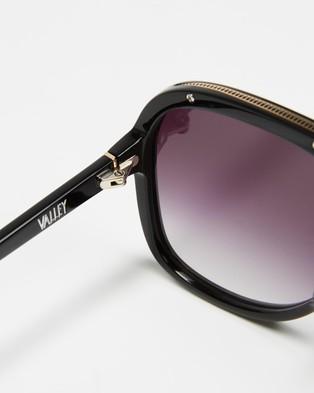 Valley Bang - Sunglasses (Gloss Black, Gold Metal Trim & Black Gradient Lens)