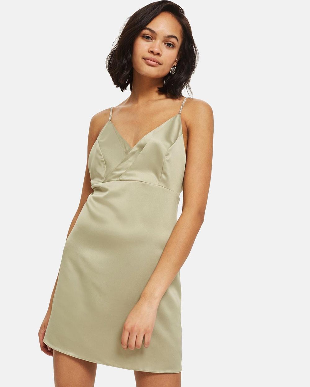 TOPSHOP Diamante Strap Mini Slip Dress Dresses Khaki Diamante Strap Mini Slip Dress