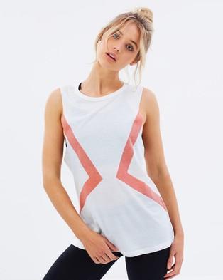Atmos Active – Stripe Tank – Muscle Tops (White & Blush)