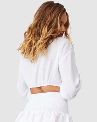 Cotton On Body Knot Front Cropped Beach Shirt - Swimwear (White)