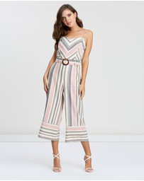 Miss Selfridge Petite - Chevron Stripe Linen-Blend Jumpsuit