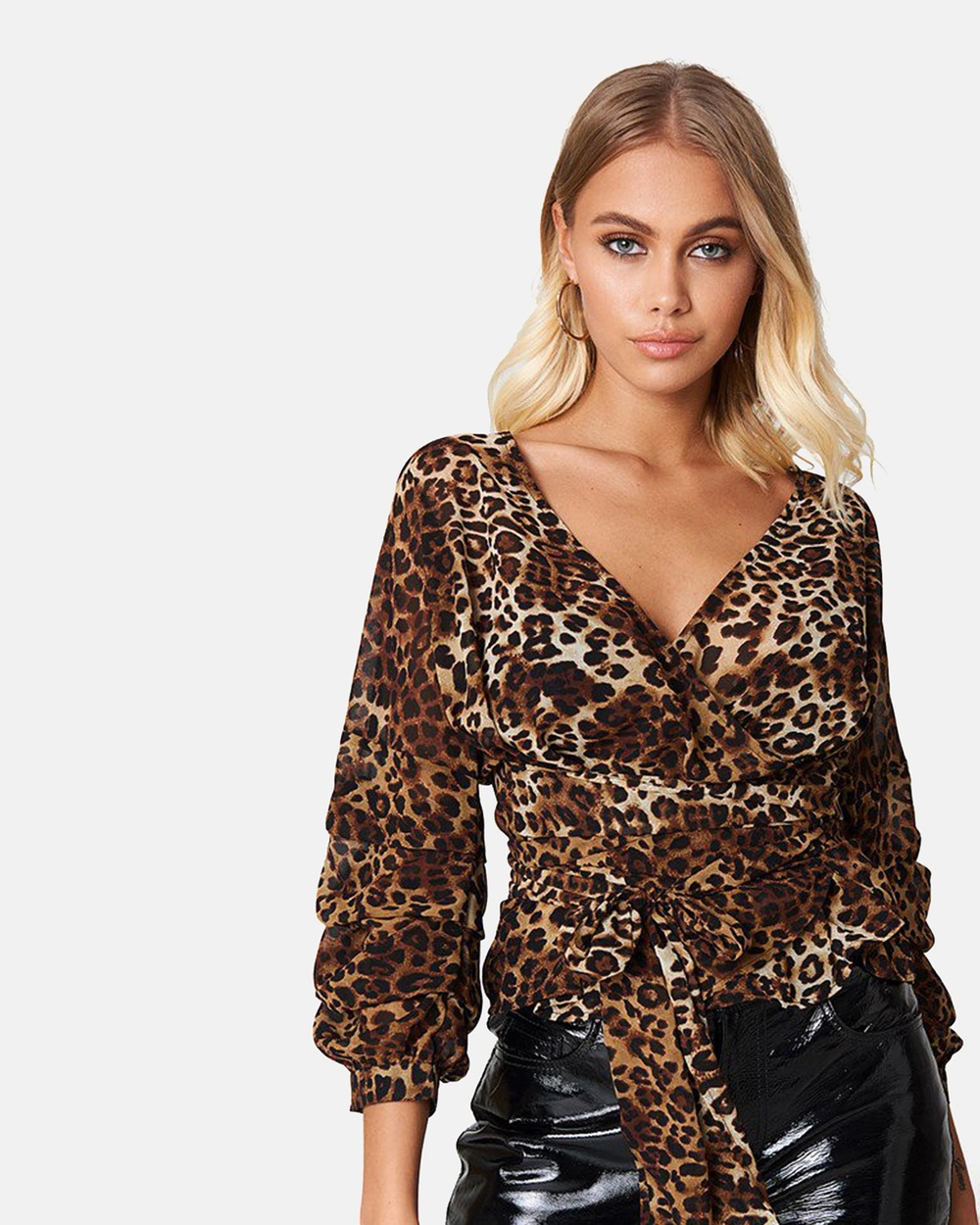 NA-KD Tied Waist Gathered Sleeve Blouse Tops Leopard Tied Waist Gathered Sleeve Blouse