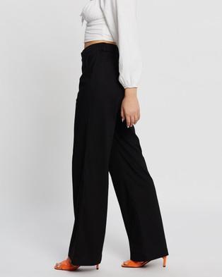 Dazie Long Lunch Linen Blend Pants - Pants (Black)