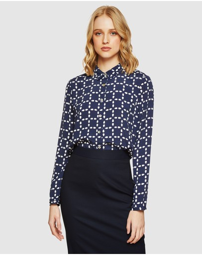 Oxford Poppy Circe Printed Blouse Navy