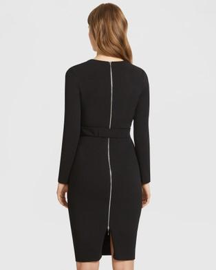 ARIS Long Sleeve Snap Belt V Neck Dress - Bodycon Dresses (Black)