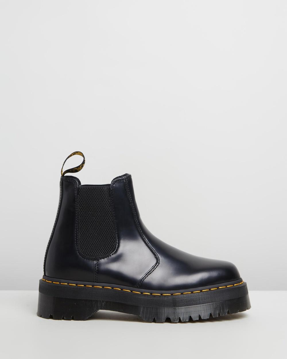 Dr Martens Unisex 2976 Quad Leather Platform Chelsea Boots Black Polished Smooth Australia