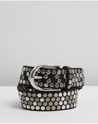 B.Belts - Flat Studs Leather Belt