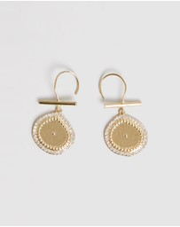 Luv Aj - The Pave Coin Hook Earrings