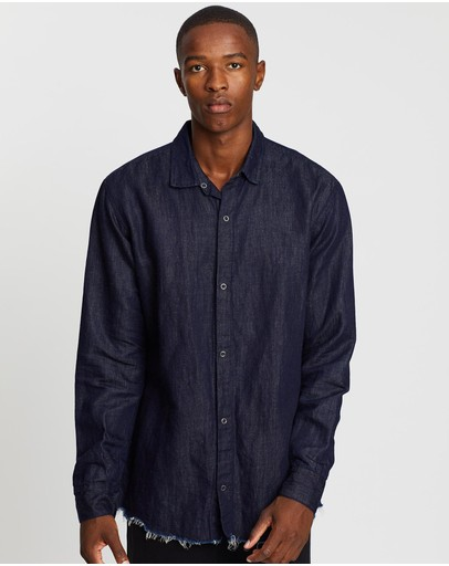 Surrounded By Ghosts The Olivine Snap Button Chambray Shirt Indigo