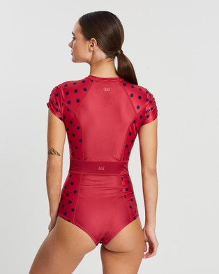 Duskii Cerise Short Cap Sleeve Suit - One-Piece / Swimsuit (Cherry & Indigo Spot)