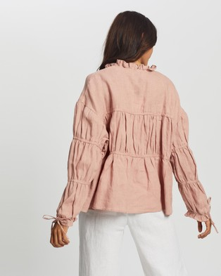 AERE Layered Linen Smock Top - Tops (Pink)
