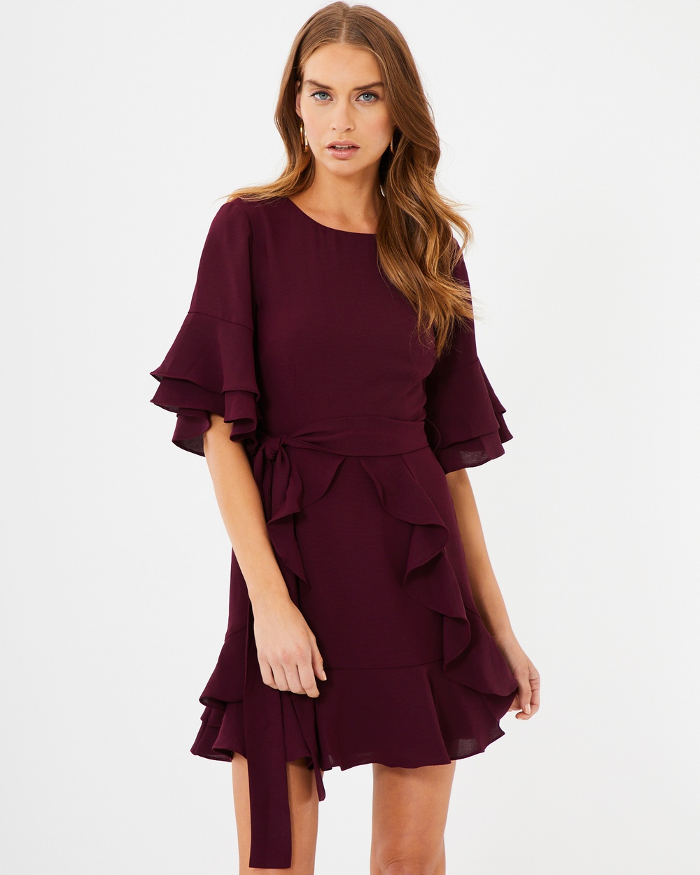 Tussah Cecilia Ruffle Dress Dresses Berry Cecilia Ruffle Dress