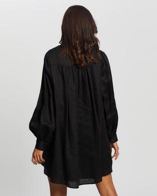 AERE Pleat Front Smock Dress - Dresses (Black)