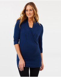 Angel Maternity - Maternity V-Neck Crossover Bamboo Work Top