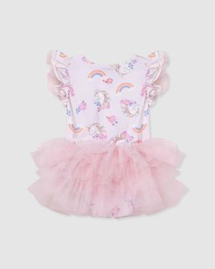 Designer Kidz Enchanted Unicorn S S Petti Romper - Rompers (Pink)