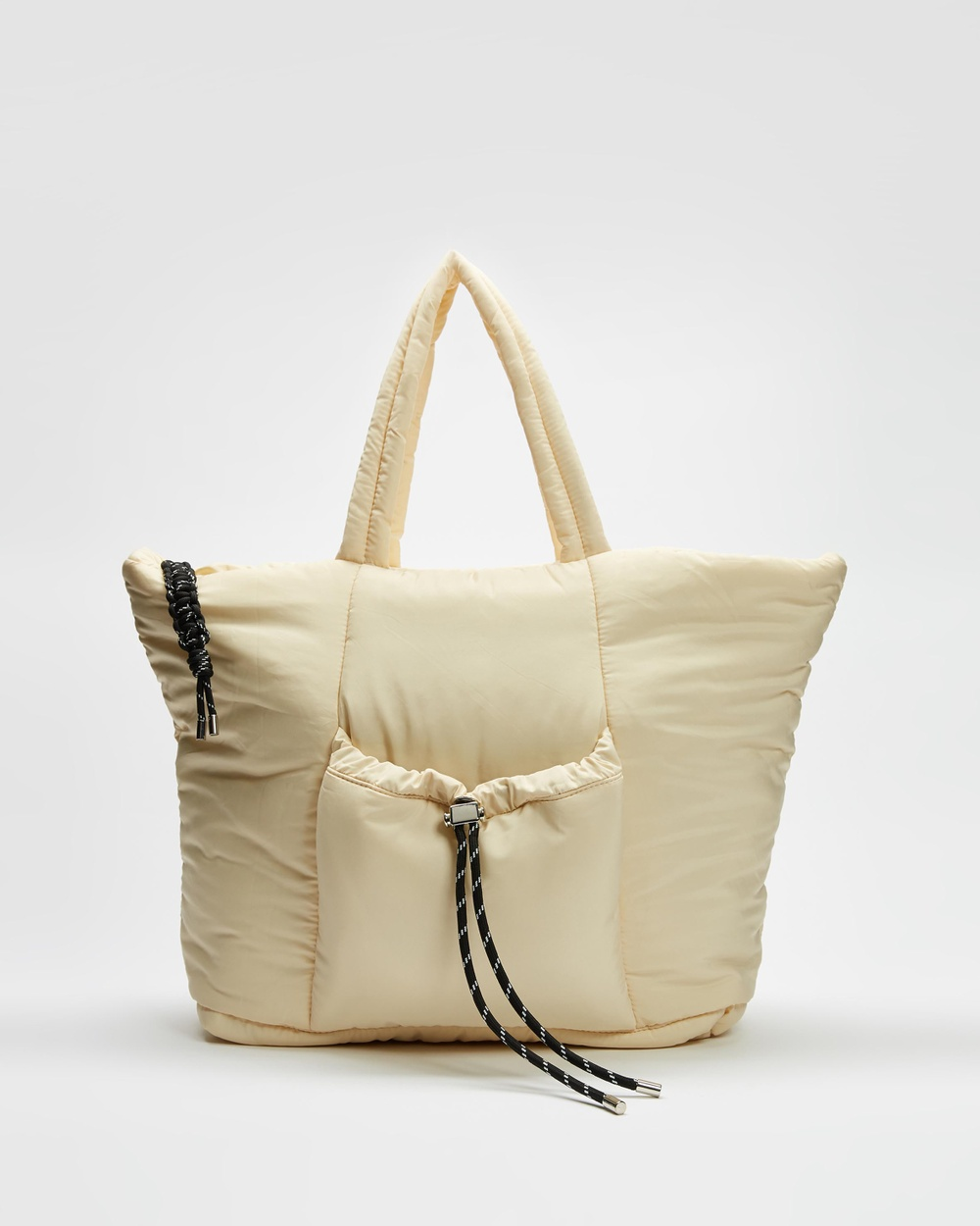 TOPSHOP Toggle Ruched NY Tote Bags White