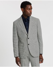 REISS - Single-Breasted Dogtooth Notch Modern Blazer