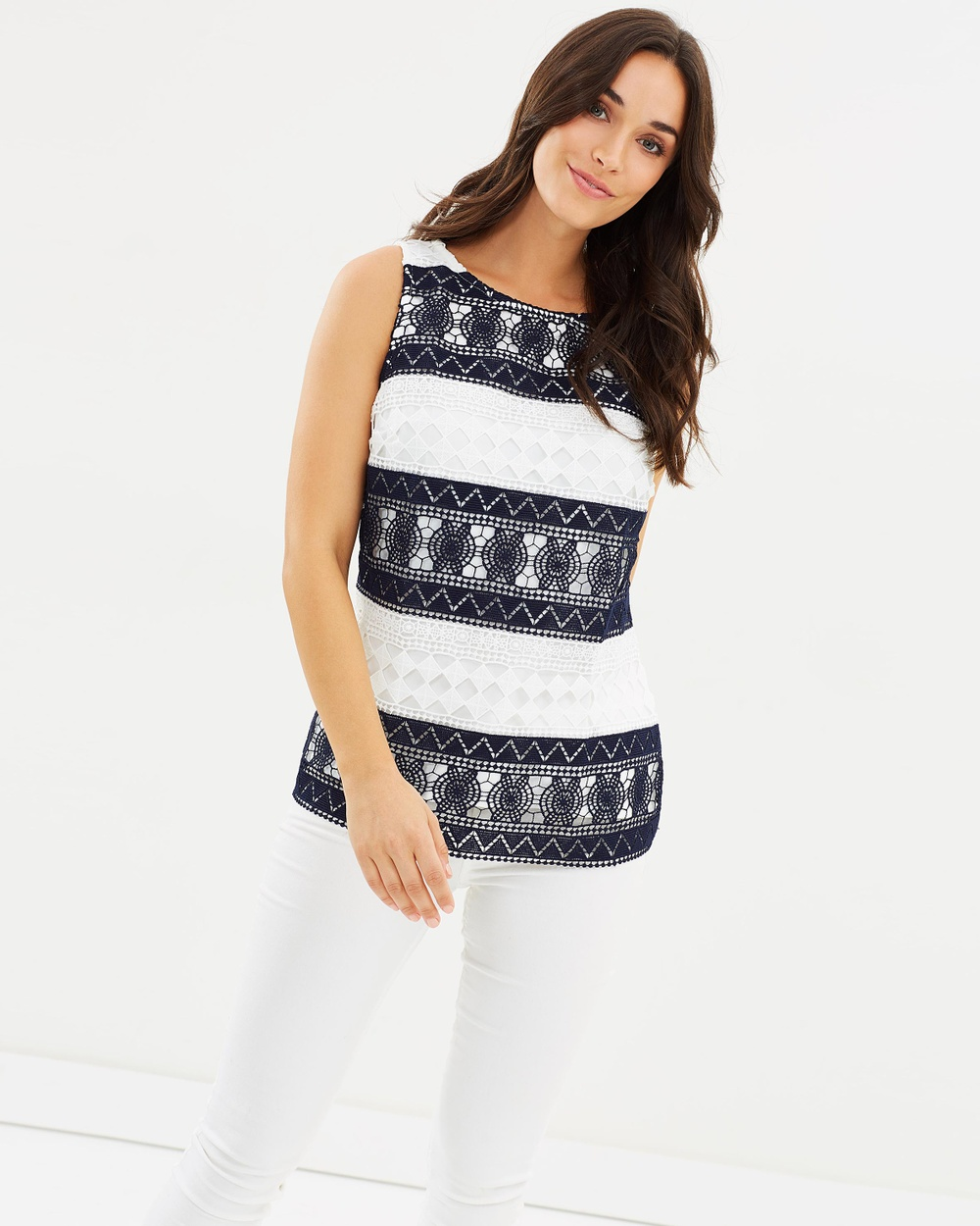 Oasis Marais Stripe Lace Shell Top Tops Navy & Ivory Marais Stripe Lace Shell Top