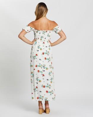 Glamorous Off Shoulder Floral Midi Dress - Dresses (White Garden Flower)