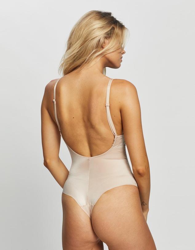 Women Suit Your Fancy Plunge Low-Back Thong Bodysuit