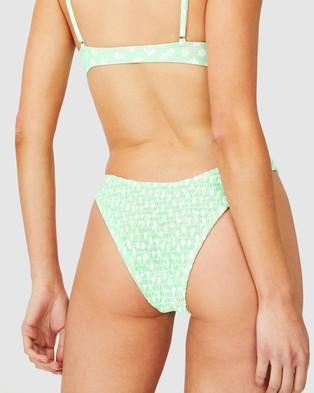 Cotton On Body - Refined High Side Brazilian Bikini Bottoms (Mint Daisy Shirred)
