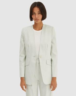 SABA Janie Linen Blazer - Blazers (Spearmint)