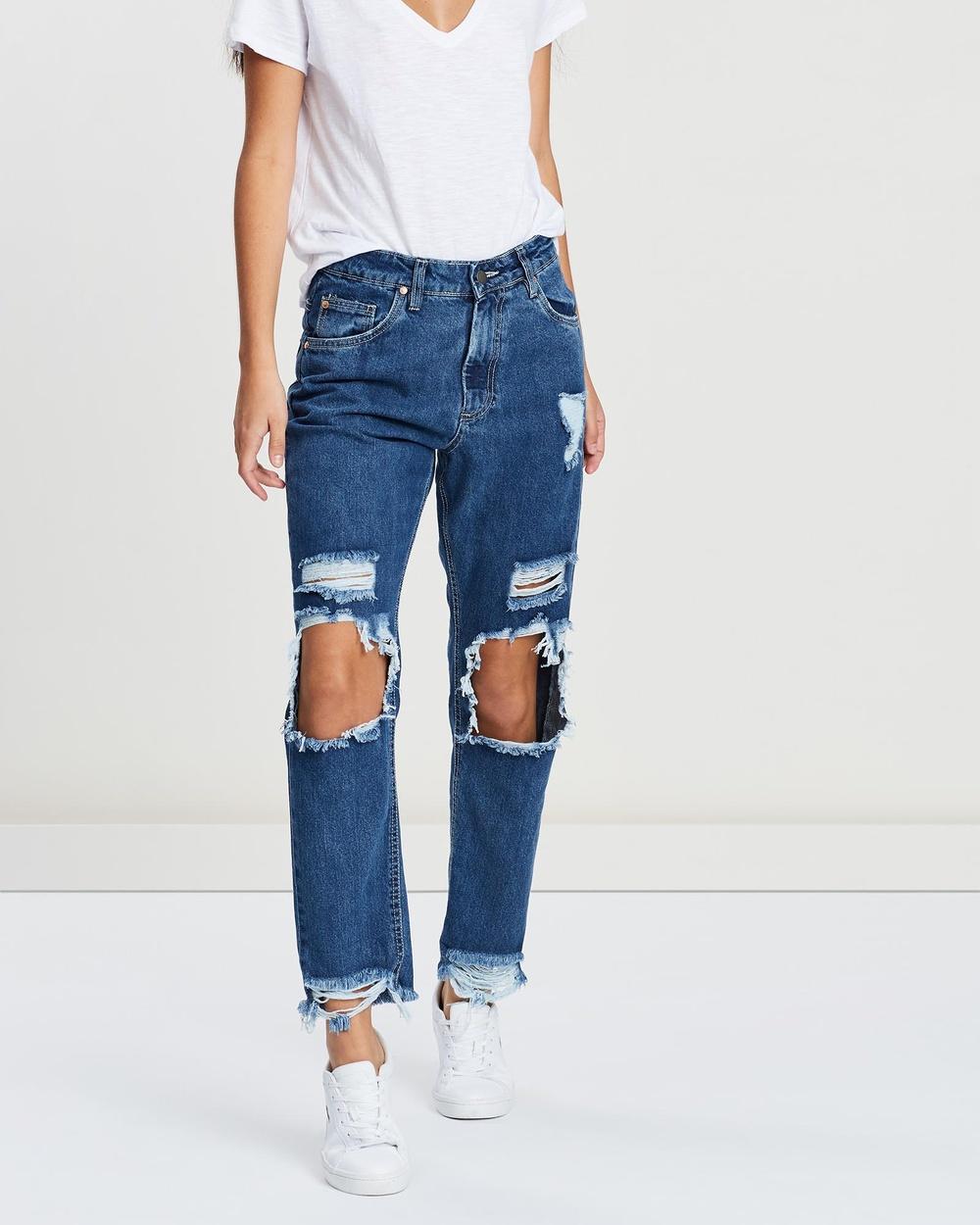 DRICOPER DENIM Mom Jeans High-Waisted Mid Indigo Wash Australia