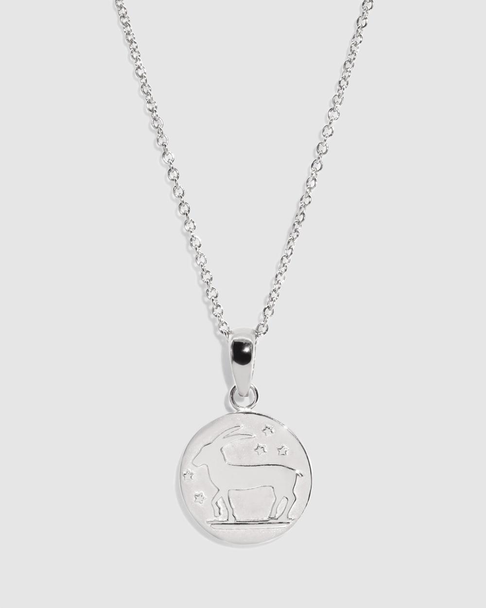Molten Store The Silver Capricorn Zodiac Pendant Necklace Jewellery Silver