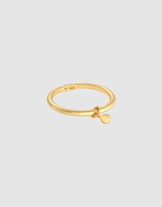 Women Ring Bandring Stacking Ring Round Platelet Basic in 925 Sterling Silver Gold Plated