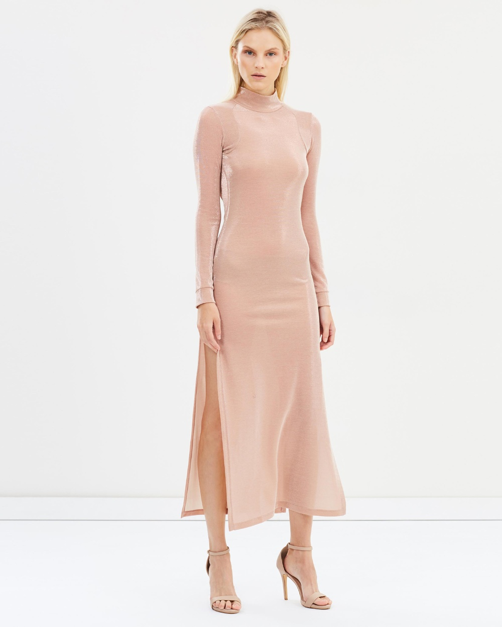 Michael Lo Sordo Backless Side Split Jersey Dress Dresses Nude Backless Side Split Jersey Dress