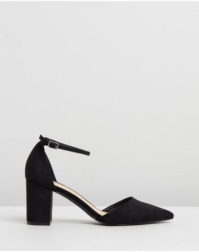 Therapy Loren Pointed Toe Block Heels Black Suede