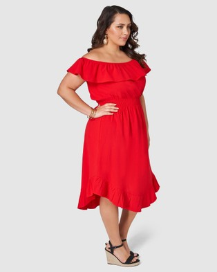 Something 4 Olivia Holly Off Shoulder Dress - Dresses (RED)