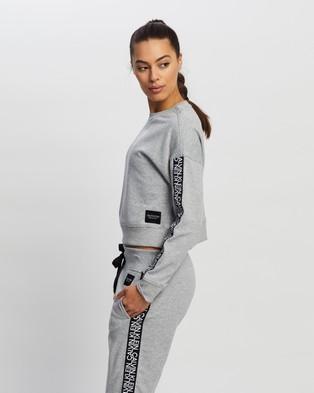 Calvin Klein Performance Mirror Logo Tape Long Sleeve Crop Pullover Crew Necks Pearl Grey Heather