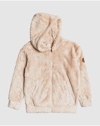 Roxy - Girls 4-14 Sunny Anyway Oversized Zip Up Sherpa Hoodie