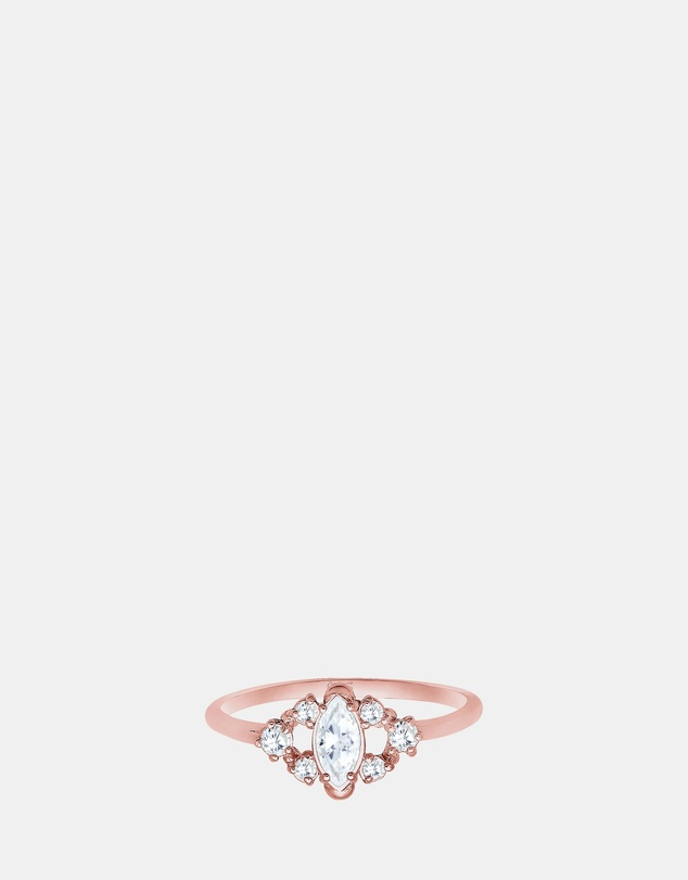 Elli Jewelry - Ring Classic Zirconia Gemstone 925 Silver Rose Gold Plated